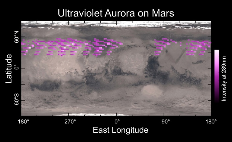 A map of MAVEN's Imaging Ultraviolet Spectrograph (IUVS) auroral detections. Image credit: University of Colorado