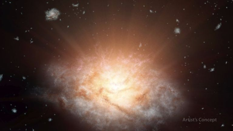 Artist impression of the brightest galaxy known in the universe. The object was discovered by NASA's WISE space telescope. Credit: NASA/JPL-Caltech