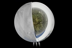 Illustration of possible interior of Saturn's moon Enceladus. Image Credit:  NASA/JPL-Caltech/SSI/PSI