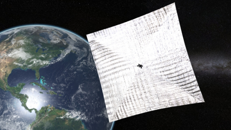 LightSail in Earth orbit: When its solar sails are unfurled, LightSail may be visible to observers on the ground. Image Credit: Josh Spradling / The Planetary Society